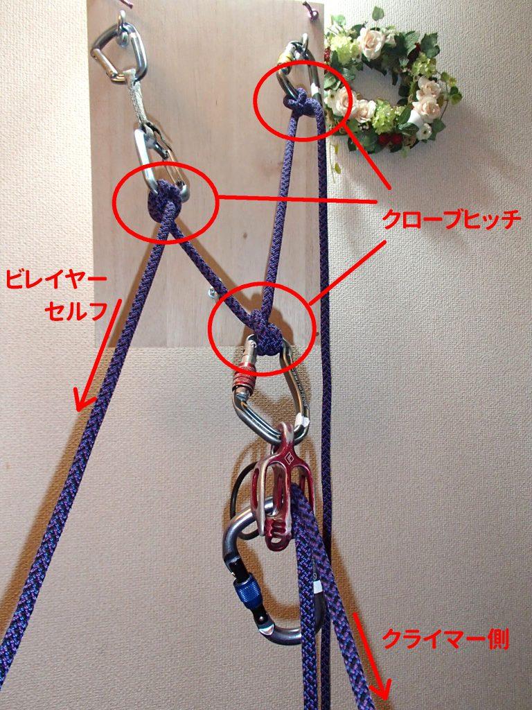 メインロープ 固定分散 スリングなし マルチピッチ アルパイン 支点 構築